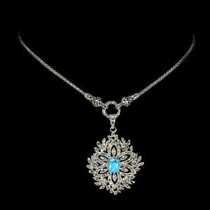 Oval Blue Turquoise 10x8mm Marcasite 925 Sterling Silver Necklace 28 Inches