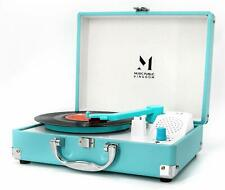Record Player, MPK Portable Mini Suitcase Turntable for 7 Inch Vinyl Blue