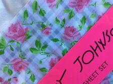 Betsey Johnson TWIN Roses on Trellis Sheet Set ~ Pink on White w/ Gray Plaid