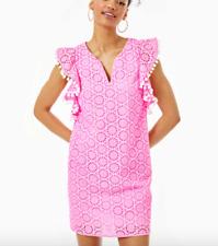 Lilly Pulitzer Astara Kleid-Prosecco Pink Neon Geo Lochstickerei
