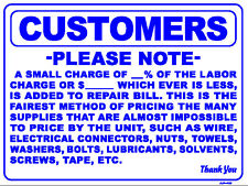 CUSTOMERS PLEASE NOTE A SMALL CHARGE OF... 18x24 Heavy Duty Plastic Sign AP-49