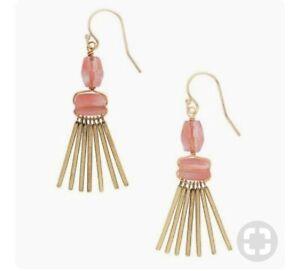 """NEW - Silpada Krw0053 Brass """"Sweet Pea""""  Pink Earrings 2"""" L"""