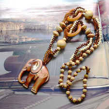 Retro Men's Wooden Hand Carved Cute Elephant Lucky Pendant+ Beads Chain Necklace