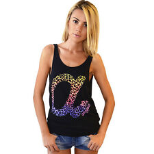OFFICIAL Amnesia Ibiza Women's Vest Leopard Logo Black Tank Top RRP £50.00