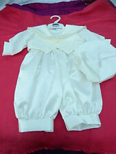 Christening Outfit Boys 0-6 months Ivory Romper Waistcoat and Hat