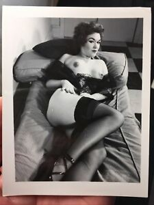Vtg 1950's Sensual Buxom Beauty Girl Nylons Heels Nude Girlie Spicy Risque Pinup