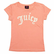 Infant Girls Juicy Couture Gothic Script T-Shirt In Peach- Short Sleeve- Ribbed