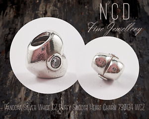 NC Designs Authentic Pandora Silver White CZ Puffy Smooth Heart Charm 790134 WCZ