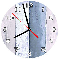 """8"""" WALL CLOCK - Wood #SN5 PInk Blue White Glossy Image weathered boards Beach"""