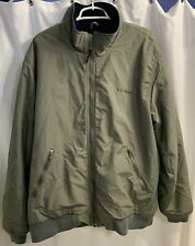 Men's XL L.L. Bean Navy Blue Fleece Lined Warm Green Zipper Jacket