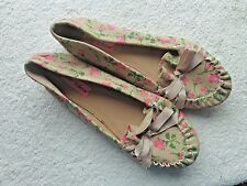 BETSY JOHNSON WOMEN'S SIZE 8.5 FLORAL BROWN PINK GREEN LOAFER SHOES BOW