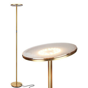 Brightech Sky Flux LED Torchiere Bright Standing Touch Sensor Floor Lamp, Brass