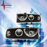 1998-2005 Chevy S10 Blazer Dual Halo Headlights Projector Front Lamp Black Pair