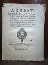 DECRETO ARREST 1688 - Bolla Papale In Coena Domini Censura Francia Lavardin Raro