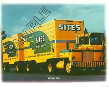 SITES FREIGHT LINES, Medford, OR- 1950s KENWORTH CBE & DOUBLES 8x10 Glossy Photo