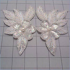 SEQUIN BEADED CRYSTAL IRIS FLOWER PAIR APPLIQUES 2142-H