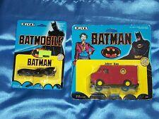 "BATMAN: 3.5"" Batmobile & 4.25"" Joker Driving Van Die Cast Metal  ERTL 1989"