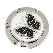 Black Butterfly Accent Round Folding Hook Handbag Table Hanger N*