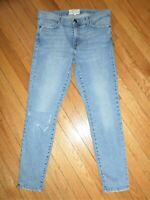 Current/Elliott High Waist Stiletto Skinny Jeans In Seville Knee Slit Destroy 30