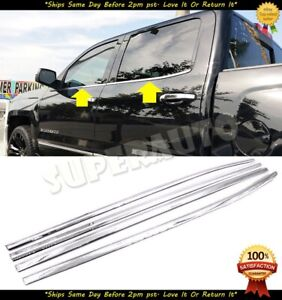 For 2014-2019 Chevrolet Silverado+GMC Sierra 1500 CrewCab Stainless Window Sill