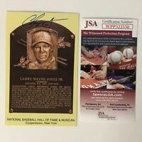 Autographed/Signed CHIPPER JONES HOF Hall Of Fame Plaque Postcard JSA COA Auto