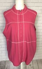 San Michelle Bay Womens Vest Fleece Relaxed Sleeveless Activewear Pink Sz 2X