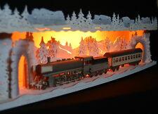 3D-Schwibbogen-Erhöhung Bank Eisenbahn im Winter Lok Dampflok Zug Erzgebirge
