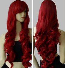 "new Fashion Womens Dark Red Long Curly Anime Cosplay Party Wig 32""/80cm"