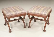 Pair of Regency style mahogany stools with shaped legs, leaf carving . Lot 184