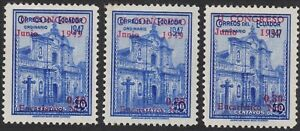 1949 Ecuador SC# 525-527 -2nd National Eucharistic Cong., Quito - Surcharged-M-H