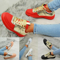 LADIES WOMENS GLITTER SPARKLE LACE UP SNEAKERS TRAINERS FASHION SHOES SIZES