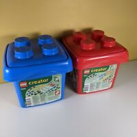2 x Lego Creator Buckets and bricks. Blue 7830 & Red 7831. 400 pieces in all.