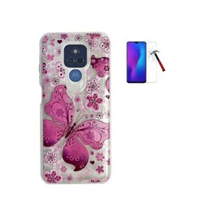 For Cricket Wireless Moto G Play, Butterfly Design Transparent Hybrid Case Cover