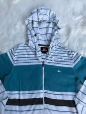 Quicksilver Men's Striped Full Zip Hoodie Jacket Size Small | White Black Aqua