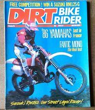 Dirt Bike Rider. December 1985. XL600LM, Fantic 301, YZ80, YZ125, YZ250, YZ490.