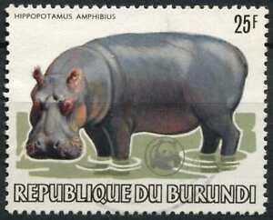 Burundi 1983 SG#1403 25f Hippopotamus Animal Optd WWF Emblem Used Cat £65#D89460