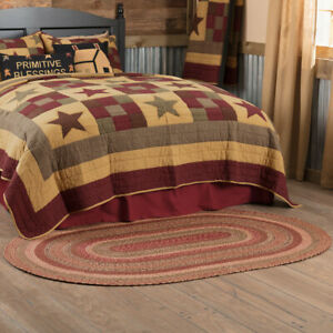VHC Cider Mill Burgundy Natural Olive Country Cottage Oval Braided Rug W/Pad