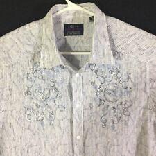 JHANE BARNES Men's XXL L/S Shirt Button Down White Blue Black Floral Textured