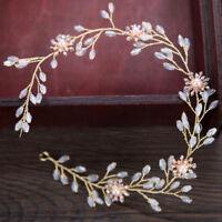 Princess Bridal Headband Wedding Pearl Rhinestone Crystal Olive Tiara Headdress