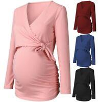 2in1 Maternity Nursing Breastfeeding Long Sleeved Wrap Bow Top Size 10 12 14 16
