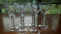 Etched Cordial Glasses Liqueur Glasses Stems 6 4 oz vintage stems 1950s