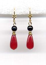 ❤️ GENUINE ONYX Black Jet w RED JADE BRIOLETTE Drop Earrings 14K Gold gp Levers