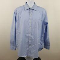Ralph Lauren Non Iron Classic Fit Blue Check L/S Dress Button Shirt Sz 17 34/35