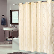 """EZ On Fabric Shower Curtain Bristol Swirl Ivory With Built in Hooks 70""""x75"""""""