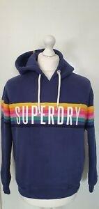A92 WOMENS SUPERDRY BLUE MULTICOLOURED STRIPED PULLOVER HOODIE UK 10 EU 38