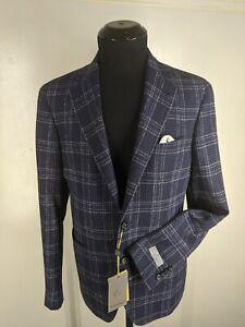 Canali Kei NEW Wool-Silk-Cotton Blazer 2 Btn  2 Vents Patch Pockets US Size 38 R