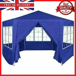Outdoor Garden Gazebo Waterproof Tent Marquee Canopy Patio Party 6 Walls Blue UK