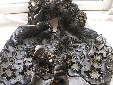 E489 Black Gold Floral Circles Glitter Mesh Evening Ladies Scarf Pashmina