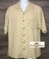 Tommy Bahama Men's 100% Silk Yellow Palm Tree Short Sleeve Hawaiian Camp Shirt S
