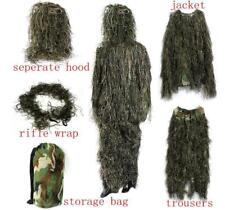 5pcs/lot Gillie Ghillie Suit Woodland Camouflage Camo Pants Jacket Hood Bag Hunt